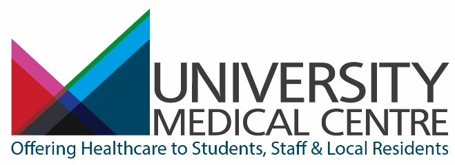 University Medical Centre Logo - Offering Healthcare to Students, Staff and Local Residents.